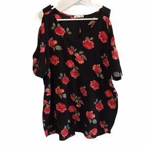 Dex black floral open shoulder shirt size x